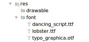 在资源目录中添加字体文件